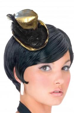 Mini cappello burlesque vittoriano 800 con clip oro e nero