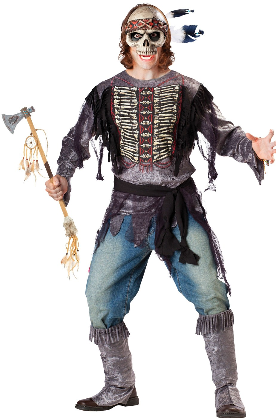 Costume uomo scheletro guerriero indiano zombie