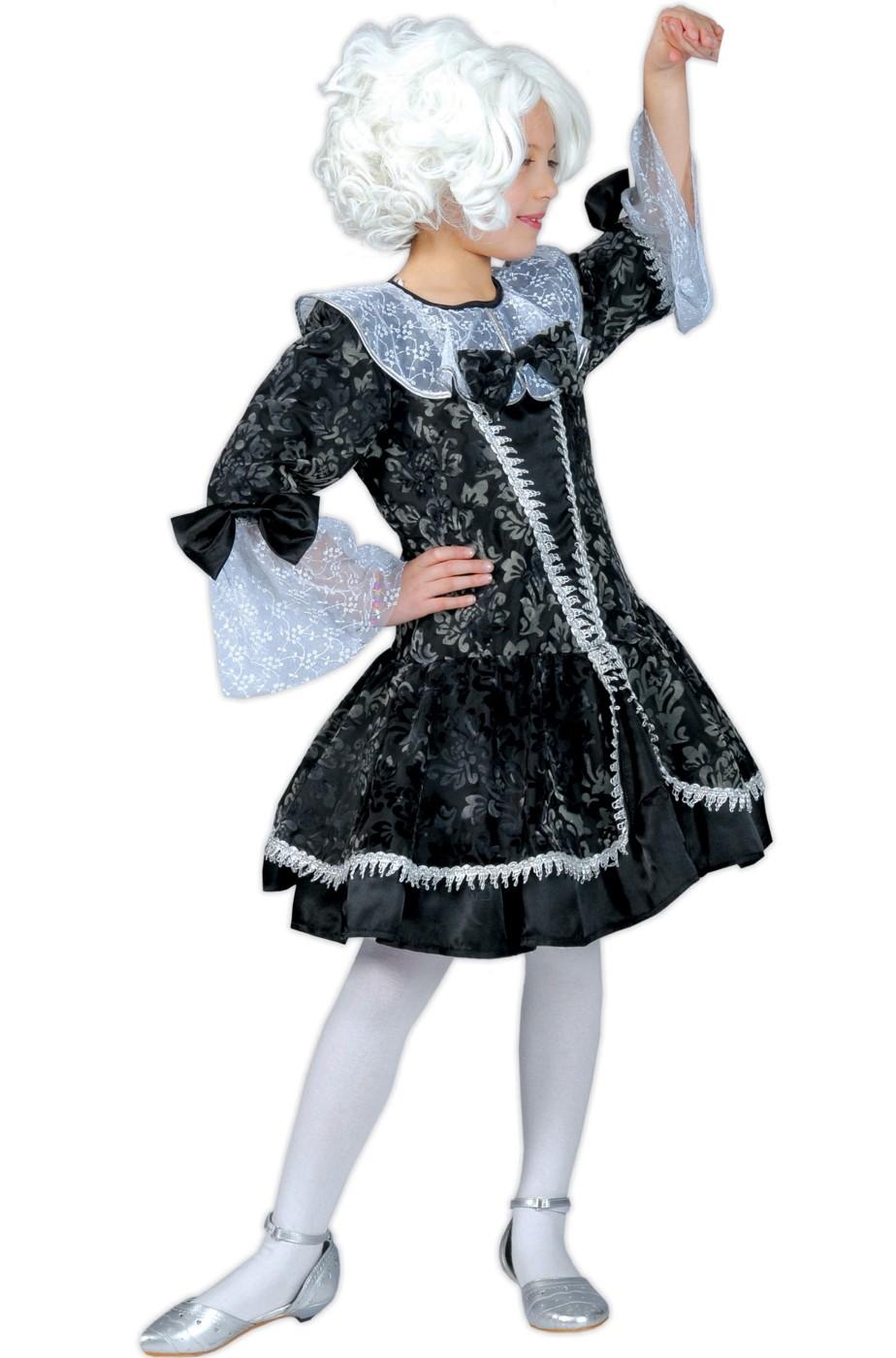 arte squisita fabbricazione abile sconto di vendita caldo Costume da bambina Dama del 700 corto carnevale veneziano grigio nero