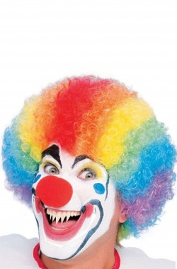 Clown Horror parrucca clown corta riccia multicolor