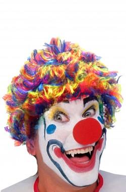 Parrucca da clown riccia mossa multicolore arcobaleno