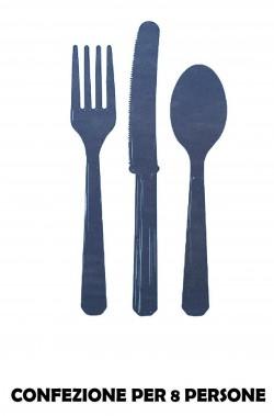 Set posate in plastica azzurre 24 pezzi (8 x cucchiai,forchette,coltelli)