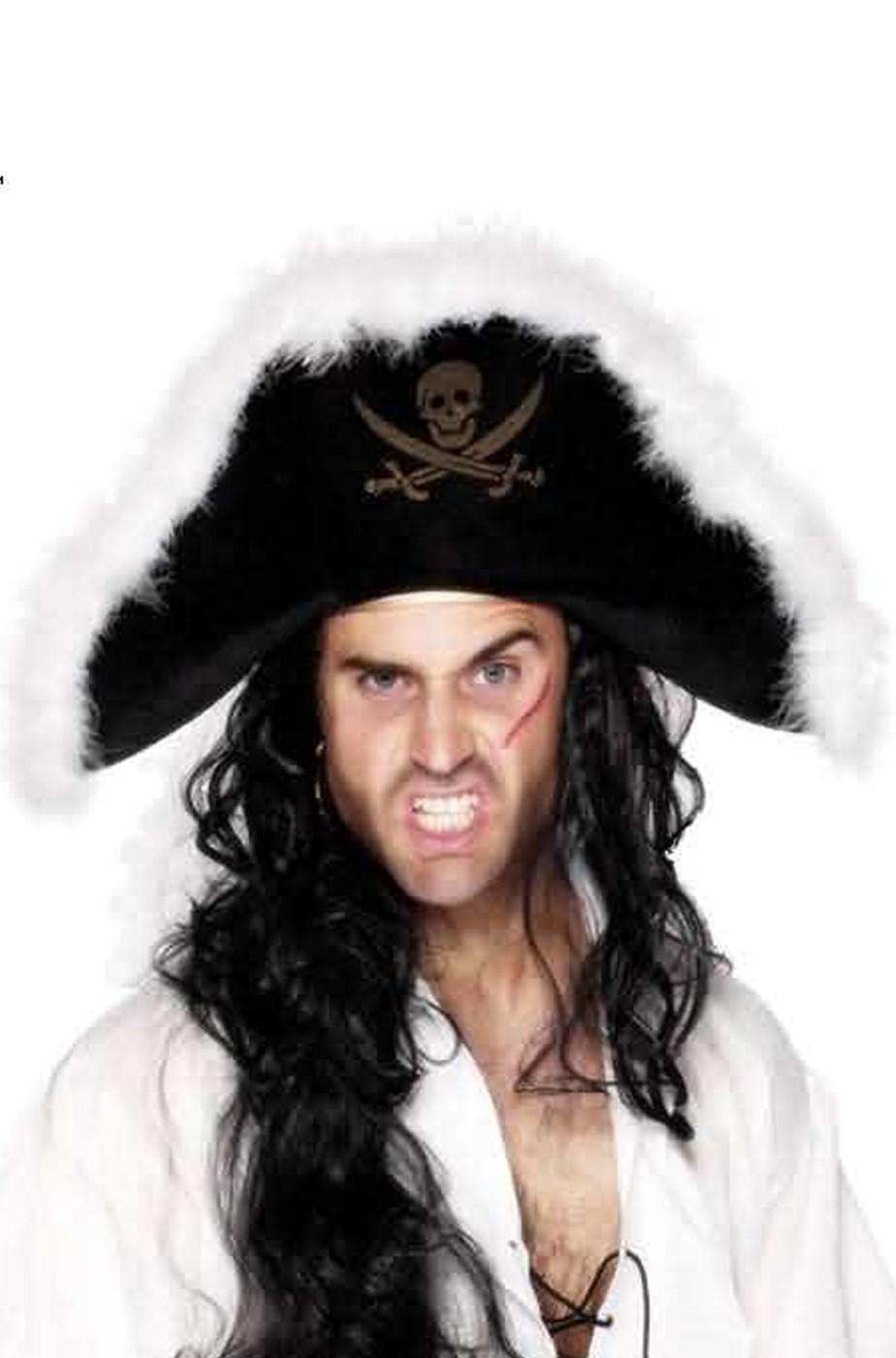 Cappello da pirata feluca con marabou bianco