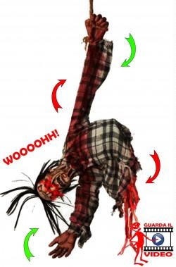 Decorazione Halloween da appendere torso di cadavere zombie con luci e suoni