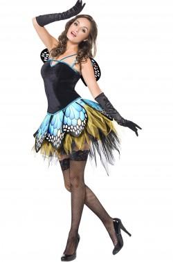 Costume donna farfalla blu ali incluse