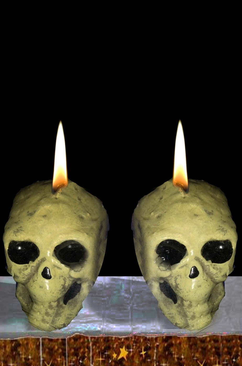 Candela halloween a teschio (coppia)circa 4 cm