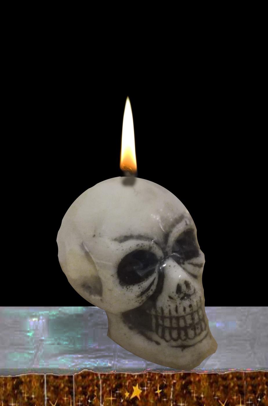 Candela halloween a forma di teschio