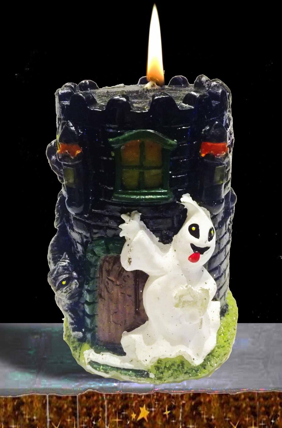 Candela halloween a torre con fantasma e gatto nero