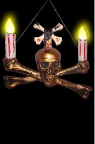 Allestimento decorazione Halloween candelabro da appendere Teschio e Ossa horror