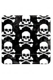 Halloween Party Jolly Roger Piatti di carta con teschio 18pzx18cm