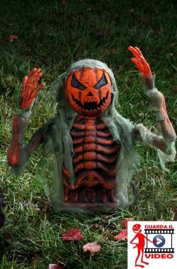 Addobbo decorazione Halloween da giardino:Jack O'Lantern che esce dal terreno 38cm con braccia posizionabili
