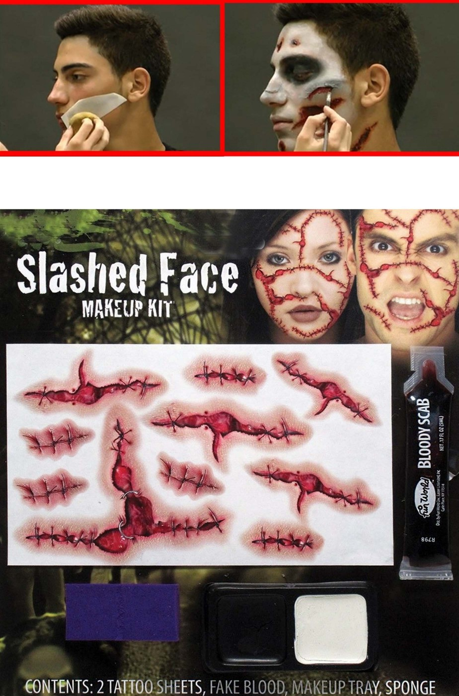 FX Tatuaggi con ferite horror venti pezzi con sangue finto e trucco 078f9c6c57d3