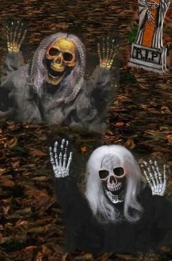 Pacchetto decorazioni Halloween da giardino: due scheletri che escono dal terreno 53cm!VERDE e NERO