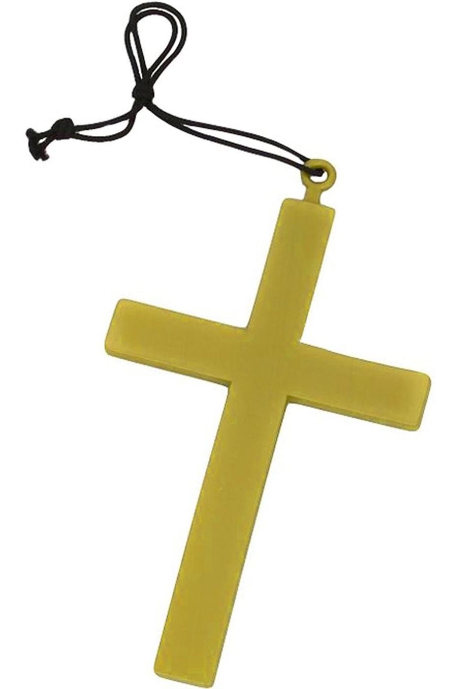 Croce in plastica da prete, monaco, frate color legno cm 20x 13