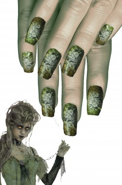 Unghie finte verdi da zombie