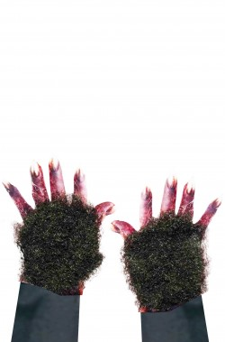 Pelo marrone per mani o viso lupo o licantropo con adesivo