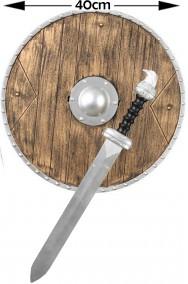 Set da Vichingo scudo color legno e spada