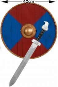 Set da Vichingo con scudo rosso e blu e spada