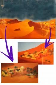 Sfondo per presepe palestinese in carta con deserto e cielo 75x65cm