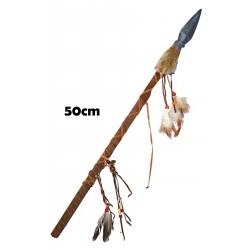 Lancia indiana o primitivo giocattolo con piume cm 60 IN resina per adulti