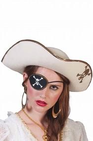 Cappello da pirata piratessa a tricorno bianco con teschio