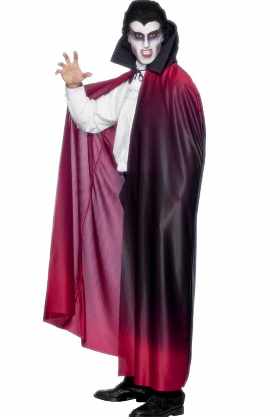 Mantello adulto rosso con collare per vampiri 120 cm