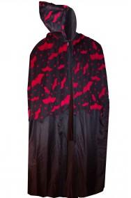 Mantello da adulto con cappuccio nero con pipistrelli rossi