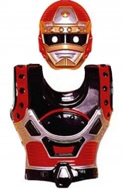 Set Power Ranger armatura pettorale e maschera bambino nero e rosso