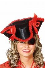 Cappello da Pirata cavaliere del 700 a tricorno Rosso e Nero Con Occhiello e Paillettes
