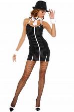 Costume donna Gangster Nero gessato
