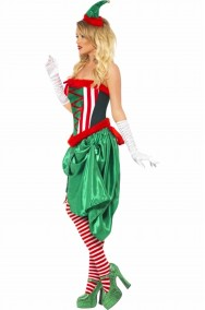 Costume abito Elfo donna di Babbo Natale Sexy Burlesque