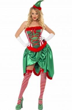 Costume donna Elfo di Babbo Natale Burlesque