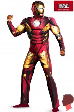 Costume Iron Man Adulto Mark VII con muscoli Taglia XXL