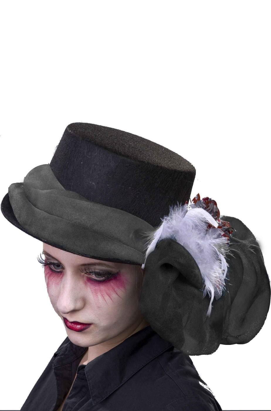 Eccezionale Cappello vintage anni 20 o 30 nero donna con fiocco dietro WA41