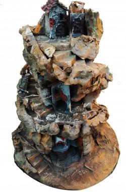 Presepe verticale a 360gradi in corteccia e legno, illuminato.46x38cm