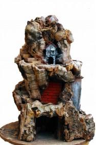 Presepe verticale a 360 gradi in corteccia e legno, illuminato.46x38cm