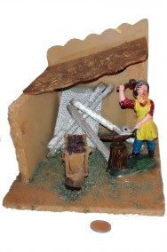 Ambientazione Presepe fucina del fabbro in legno e plastica