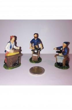 Figurina Presepe in plastica (cm 5,5) Set tre mestieri