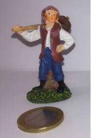 Figurina Presepe in plastica (cm 5,5) mendicante con fagotto