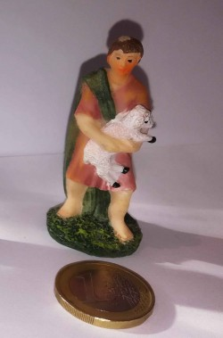 Figurina Presepe in plastica (cm 5,5) pastore con pecora in braccio