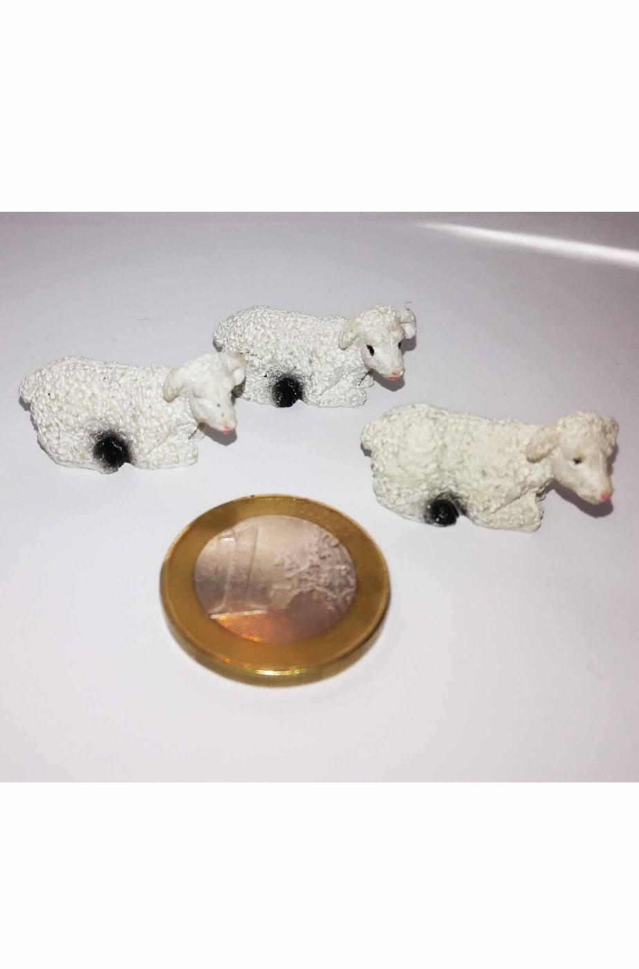 Figurina Presepe in plastica gregge di tre pecorelle bianche