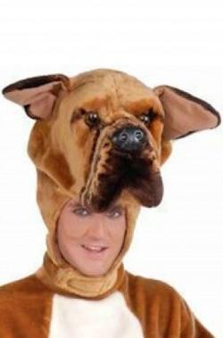 Costume da cane adulto marrone con testa