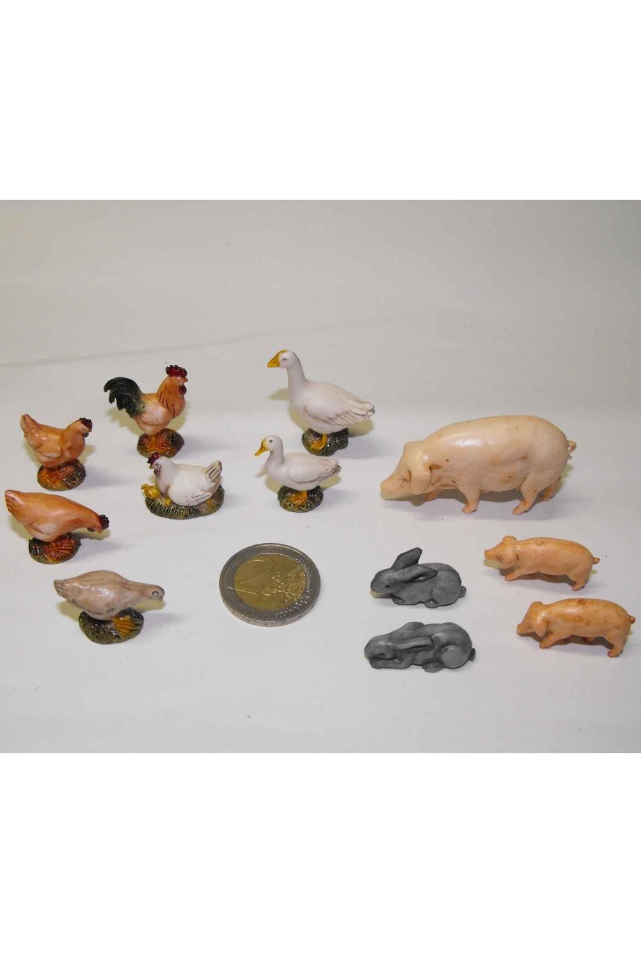 Ambientazione presepe:set animali dipinti a mano, aja e fattoria