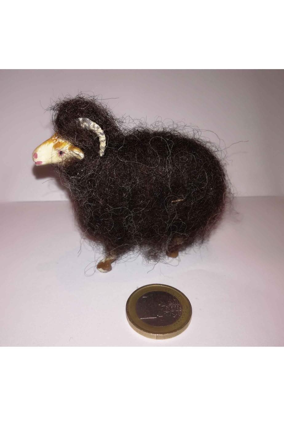 Accessori presepe pastore:Gregge di tre pecore marroni in lana vera
