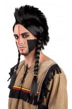 Parrucca Uomo Lunga Nera con trecce indiano