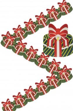 Striscione ghirlanda festone di Natale in carta pacchi regalo verdi