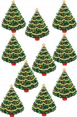 Decorazione natalizia per vetrine 10 Alberi di Natale in cartoncino plastificato