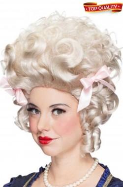Parrucca donna bionda corta acconciatura alta 700 barocco