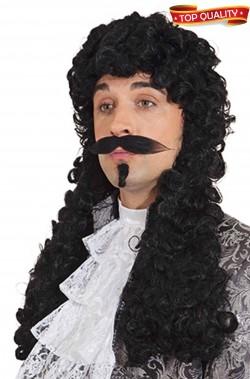 Parrucca Re Luigi Moschettiere nera lunga riccia