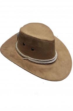 Cappello cowboy marrone tortora rivestito in scamosciato